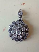 "1.25""VINTAGE FAUX DIAMOND ROUND CLUSTER OF RHINESTONE PENDANT,GUNMETAL,3... - $4.94"