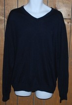 Chaps V Neck Sweater Mens XL Navy Dark Blue Cashmere Blend Long Sleeves - $39.55