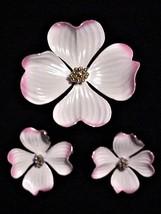 Vintage MARVELLA DOGWOOD Enamel Brooch Pin & Clip-on Earrings - $29.95