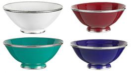 Moroccan Handmade blue cobolt Ceramic Bowl Silver Metal Trim  - $24.75