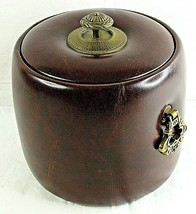 Ice Bucket Oakridge Country Club Faux Leather Brown Vintage Rare 1977 El... - $39.59
