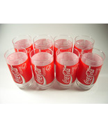 8 Vintage Coca-Cola Classic Glasses Unused Red/White Ribbon Indiana Glas... - $45.00