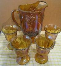 Carnival Glass Pitcher + 4 Goblets - Harvest Grape Pattern from Indiana ... - $123.74