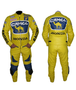 HONDA CAMEL YELLOW MOTORBIKE MOTORCYCLE COWHIDE LEATHER ARMOURED 2 PIECE... - $339.99