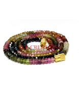 """AAA+ Natural Multi Tourmaline 3-4mm Rondelle Faceted Beads 34"""" Beaded Ne... - $46.27"""