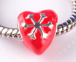 925 silver 1 red with snow flake Love big hole Bead Fit European Charm B... - $14.86