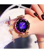 Rose Gold Women Watches Fashion Diamond Ladies Starry Sky Magnet Watch W... - $15.29