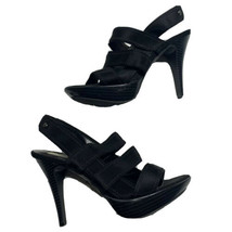 Women's Simply Vera Vera Wang Sima Black Heels Size US 8M Open Toe EUC S... - $21.99