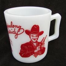 Hazel Atlas Hopalong Cassidy mug red print milk glass - $22.50