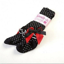 Lovespun Girls Baby Tights Size 0-6M Black Polka Dot Ruffled Ankle Bow D... - $8.99