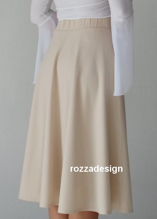 a-line blue midi skater skirt with pockets, sapphire, beige, cream, custom