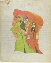 Vintage 1970's Hand Painted Needlepoint Canvas European Fashionistas 12.... - $44.15