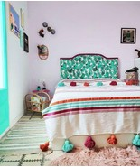 Moroccan Blanket Pompom Blanket Bed Spread Moroccan Throw Blanket Cotton... - $69.99+