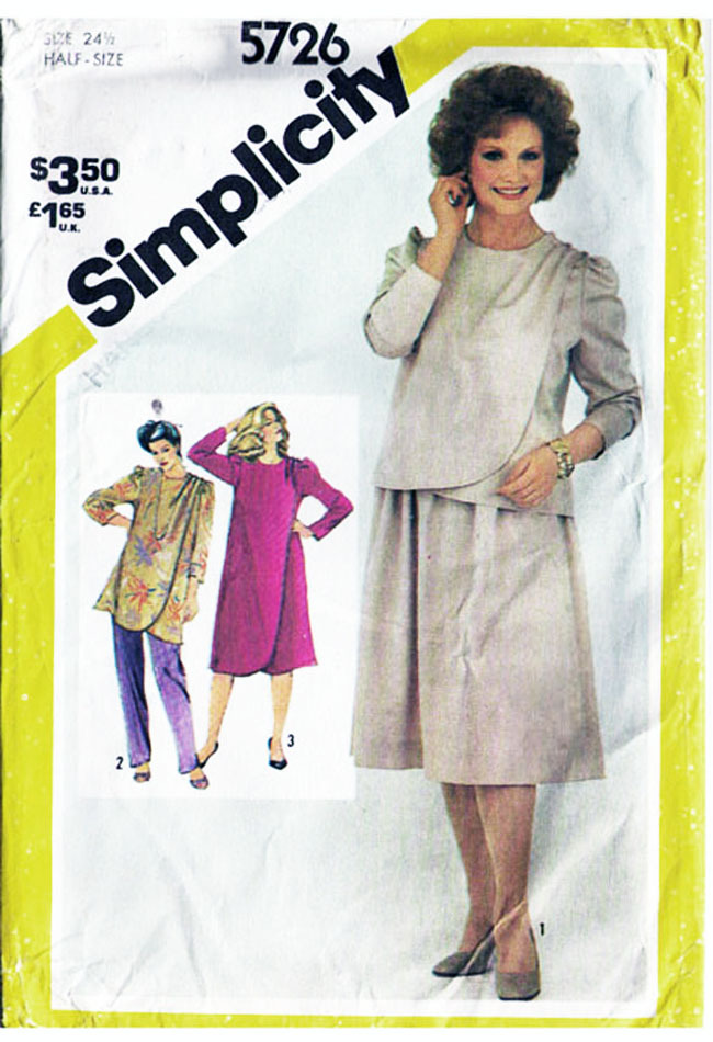 Primary image for Vintage 1982 Misses WRAP DRESS or TUNIC & Pants Pattern 5726-s Size 24-1/2 UNCUT