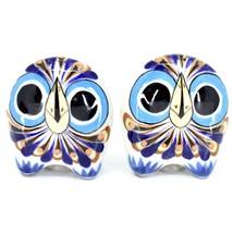 Ceramic Painted Owl Salt & Pepper Shaker Set Shakers Handmade in Guatemala image 1