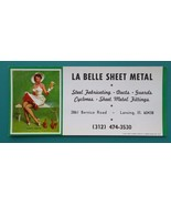 PIN-UP Girl Feeding Squirls & AD for La Belle Sheet Metal - 1950s INK BL... - $6.35