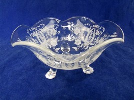 Vintage New Martinsville PRELUDE 3 Footed Etched BonBon/Candy/Nut Bowl 1... - $17.82