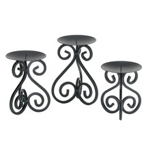 Iron Candle Stand, Set Of Three Metal Stands For Candles - Iron Scrollwork - £20.71 GBP