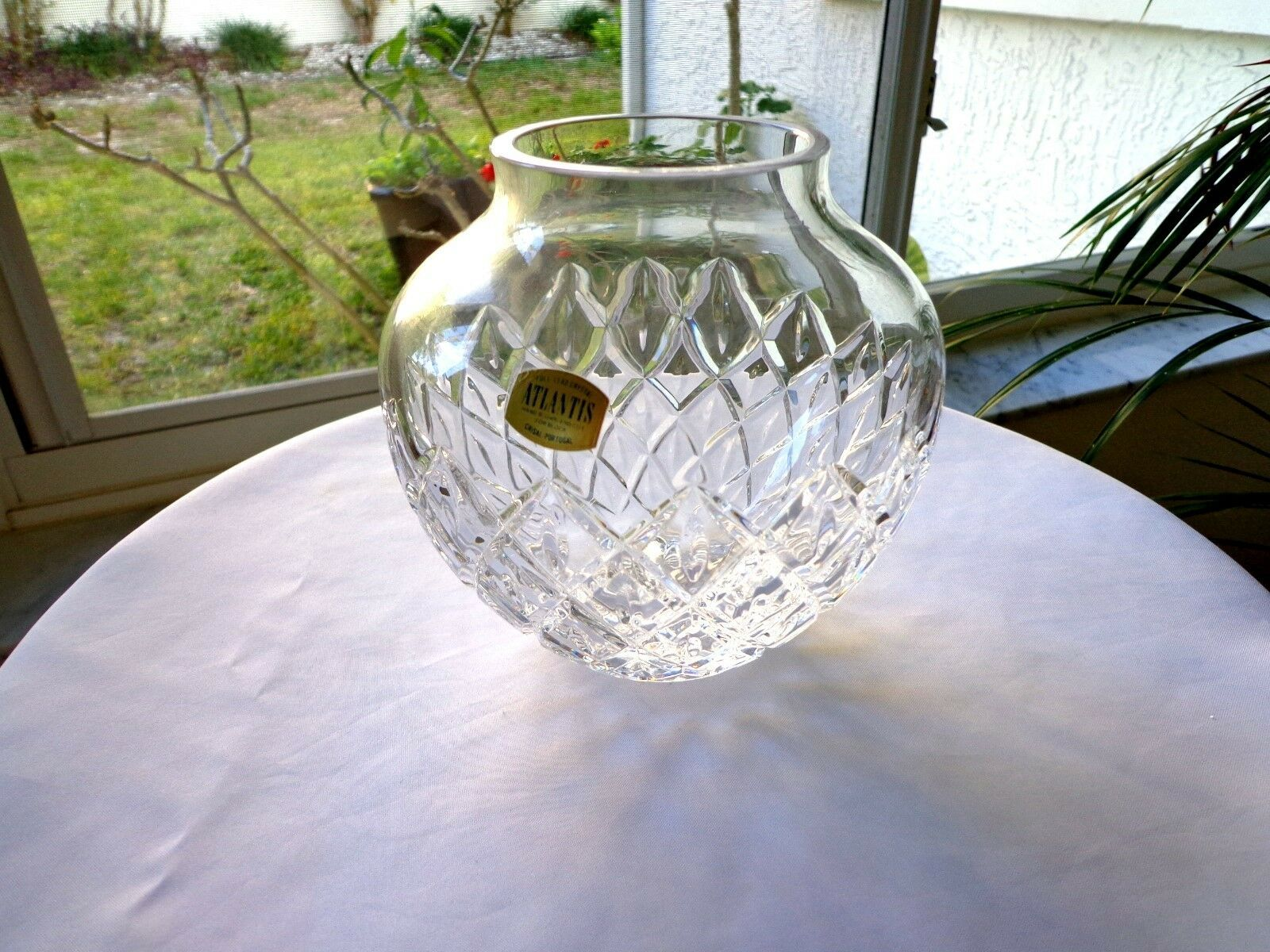 "Primary image for Vintage Atlantis Portugal Made Clear Crystal 6"" Vase 1970's Signed"