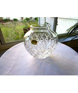"Vintage Atlantis Portugal Made Clear Crystal 6"" Vase 1970's Signed - $24.75"
