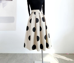 Fall Polka Dot Pleated Skirt Women Polka Dot Party Skirt Outfit,Khaki,Plus Size  image 5