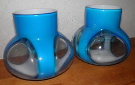 """2 Vtg 1970s FUNKY 7x7""""ea Heavy Blue & White Art... - $64.02"""