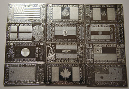 Set of 12 Silver Producing Nations 20 Gram Silver Bars Lot # N 374
