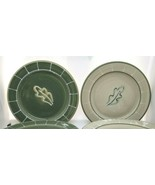 Set Seven Hartstone Pottery Salad Plates LEAF MOSS & STONE Green & Beige... - $69.00