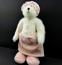 "Poseable Bath Towel Cap Hat Slippers 14"" Boyds Teddy Bear Pink White Plu... - $16.80"