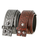 """Western Floral Embossed Replacement Belt Strap w/Snaps 1-1/2"""" wide - $9.85+"""