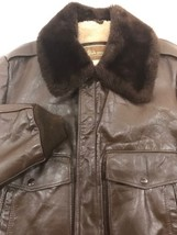 THE LEATHER SHOP COLLECTION - SEARS BROWN BOMBER JACKET SIZE 36 VINTAGE - $96.74