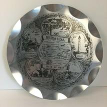 Vtg Thin Metal Silver Bermuda Isles of Rest Souvenir Decor Scalloped Dis... - $23.36