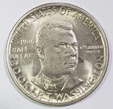 1946 Booker T Washington Commemorative Silver Half Dollar Coin Lot# E 214