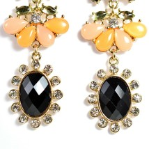 """Mode Peach & Black Lucite Bead 2.5"""" Drop Post Dangle Earrings New with Tag image 2"""