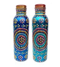 SET OF 2 PURE COPPER HAND PAINTED WATER BOTTLE AYURVEDA HEALTH HOME,KITC... - $57.42