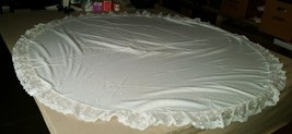 Vintage 63 inch diameter Round Wide Lace Edge Tablecloth - $14.99