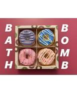 Donut Bath Bomb Fizzies  Lavender Vanilla Strawberry Ocean Gift Box Set 4 - $13.85