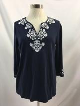 Jones New York Sport Navy Blue Top Floral Embroidery at V Neck 3/4 Sleev... - $19.94