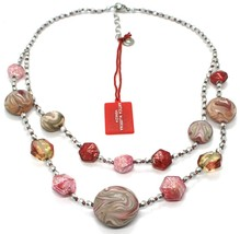 Necklace Antica Murrina Venezia CO875A05 Two Wires,Discs Polyester Stripe Red image 2