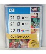 HP Ink Cartridge 21 Black 22 Tri-color Combo Pack Genuine Hewlett Packard 2007 - $17.54