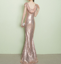 CHAMPAGNE GOLD Short Sleeve Long Sequin Dress Bridesmaid Long Maxi Sequin Dress image 3