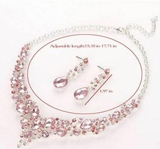 Stunning Austrian Crystal Necklace and Earrings Set, Pink