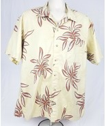 Columbia Mens Tan w/ Brown Leaves Hawaiian Button Front Collared XL Shirt - $12.12