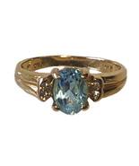 Tiffany & Co. 14K Yellow Gold Oval Topaz & Diamond Ring Size 3.5 - $185.00