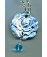 clay rose necklace flower pendant necklace blue necklace clay jewelry fl... - $5.99