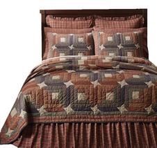 5-pc Parker King Quilt Set - Patchwork Stars & Log Cabin Blocks - Vhc Brands