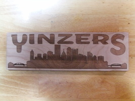 Wood Sign Plaque  YINZERS Pittsburgh Skyline - YINZ Dilly - Steel City B... - $27.50