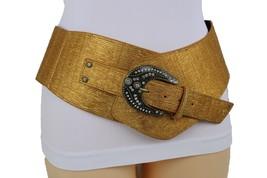 Sexy Damen Breites Band West Gürtel Hüfte Taille Metallic Gold Farbe Übe... - $32.29