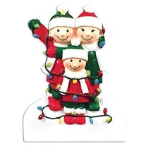 FAMILY OF 3 CHRISTMAS ORNAMENT TANGLED UP IN LIGHTS HOLIDAY GIFT PRESENT - $11.43