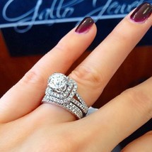 Certified 2.95Ct Round Diamond Engagement Wedding Ring Set in 14k White ... - £245.56 GBP